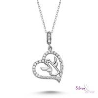 Silver & Silver Kalbimin Meleği Zirkon 925 Ayar Gümüş Altın Kaplama Kolye