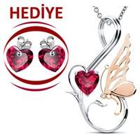 Jessini Kalp Kelebeğim Pırlantalı Kolye (Kalp Küpe Hediyeli)