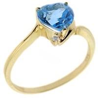 Goldstore 14 Ayar Altın 0.01 ct Pırlanta Blue Topaz Kalp Yüzük DRF11549