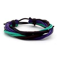 Solfera Çok Sıralı Renkli Deri Erkek Bileklik B995