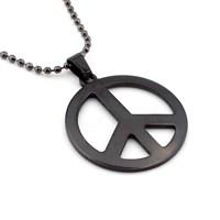 Solfera Siyah Paslanmaz Çelik Peace Erkek Kolye K362