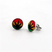 Solfera Cannabis Desenli Erkek Unisex Küpe E263
