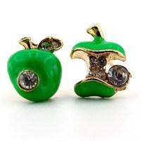 Solfera Taşlı Yeşil Elma Bayan Küpe E101