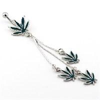 Solfera Sallantılı Cannabis Göbek Piercing P115