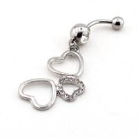 Solfera Sallantılı Kalpler Çelik Göbek Piercing P295