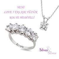 "Silver & Silver 5 ct. Swarovski Taşlı ""Aşk"" Beştaş Yüzük"
