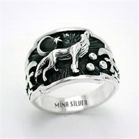 Mina Silver Bozkurt Ayyıldız Balta Gümüş Taşsız Erkek Yüzük