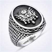 Mina Silver Osmanlı Devlet Armalı Desenli Gümüş Taşsız Erkek Yüzük