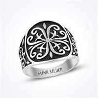 Mina Silver Motifli Taşsız Taşsız Gümüş Erkek Yüzük