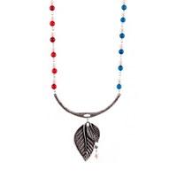 Bengü Accessories Yaprak Figürlü, İnci Ve Akik Taşlı Tek Tasarım Kolye