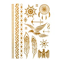 İroni Flash Tattoo Parlak Geçici Kızıldereli Gold Silver Dövme