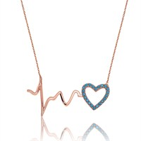 Tekbir Silver Gümüş Firuze Taşlı Kalbin Ritmi Kolye