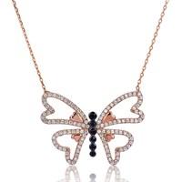 Tekbir Silver Gümüş Kalp Kanatlı Kelebek Kolye