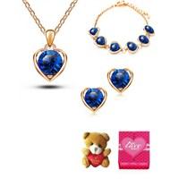 Forentina Mavi Kalp Taşlı Takı Seti FR0221