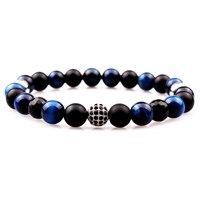 Takı&Trend Siyah Oniks Mavi Kaplan Gözü Micro Pave Bileklik