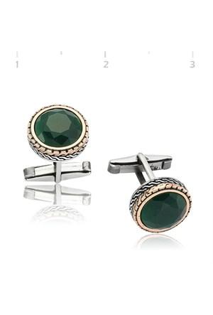 Gumush 925 Yeşil Zirkon Taşlı Yuvarlak Kol Düğmesi | Cfl1350005