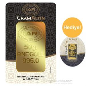 iar 24 ayar külçe altın 50 gr - 0,50 gr külçe altın hediye