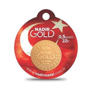 nadir gold 22 ayar külçe gram altın 0,5 gr. yuvarlak