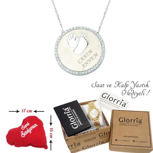 Glorria Gümüş Ayak İzi Kolye - Dt0197-Hs