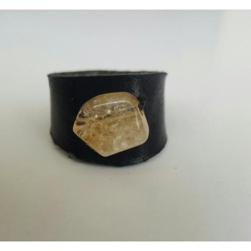 Onka Tasarım Sitrin Taşlı Siyah Deri Yüzük