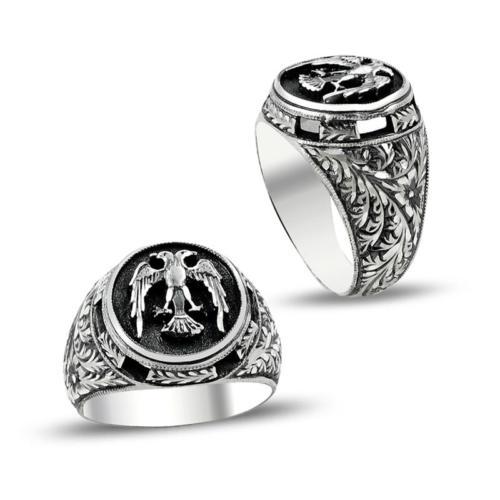 Anıyüzük Çift Başlı Kartal Motifli Erzurum El İşi Gümüş Yüzük