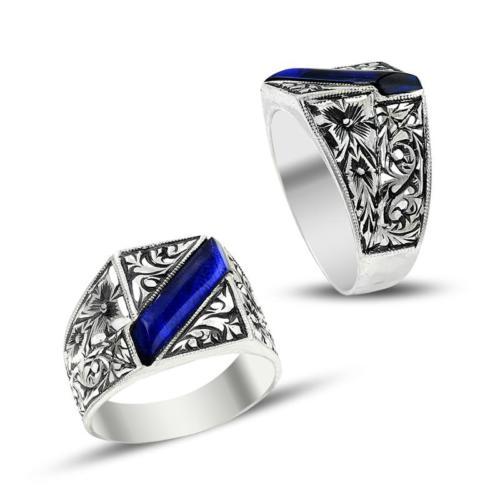 Anıyüzük Erzurum El İşçiliği Mavi Mineli Gümüş Yüzük