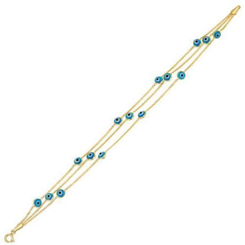 Bilezikhane Üç Sıra Boncuklu Mavi 14 Ayar Altın Bileklik