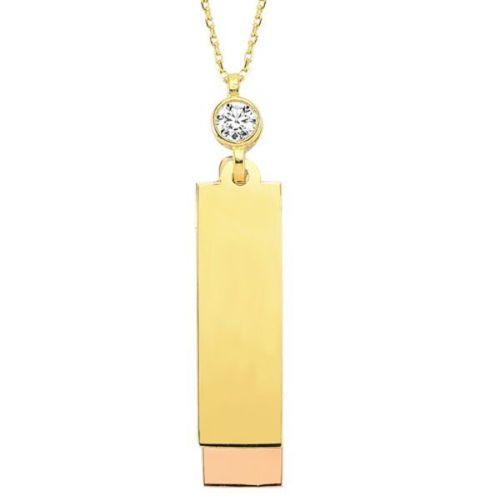 Bilezikhane Plaka Kolye 2,67 Gram İki Renkli 14 Ayar Altın