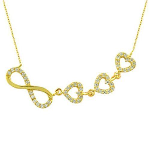 Kolye Sonsuzluk ve Kalpler 2,97 Gram 14 Ayar Altın