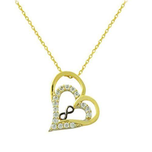 Bilezikhane Kolye Kalp İçinde Sonsuzluk 2,05 Gram 14 Ayar Altın