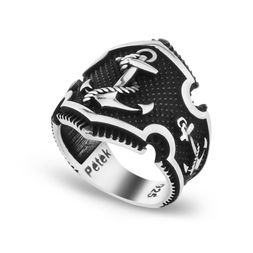 Chavin Çapalı Siyahlatılmış Gümüş Erkek Yüzük df62