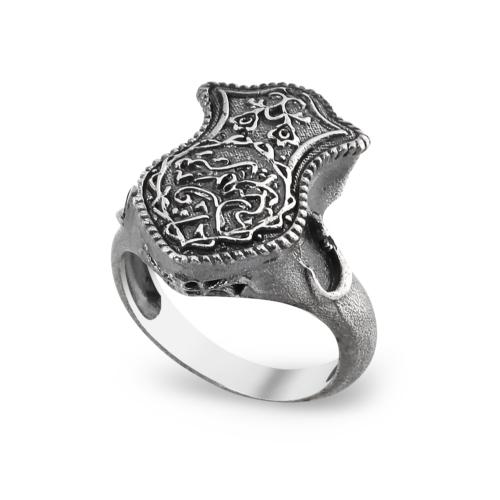 Chavin Fatma'nın Eli Ayetli Vav Gümüş Erkek Yüzük ct70