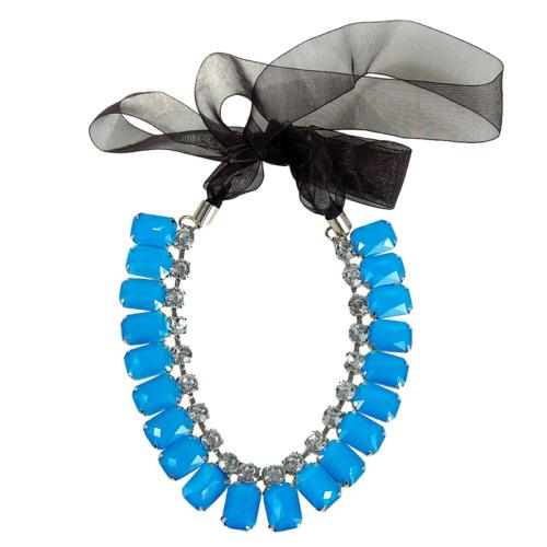 Bee One Mavi Renkli Plastik Taşlı Bijoux Kolye bz65
