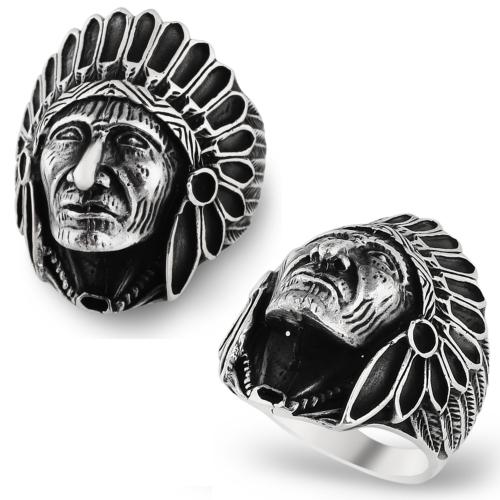 Chavin Kızılderili Gümüş Erkek Yüzük cs62