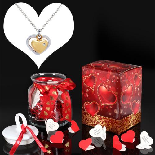 Chavin Pırlanta Taşlı Kalp Çelik Kolye ve Aşk Mesajları au59kv