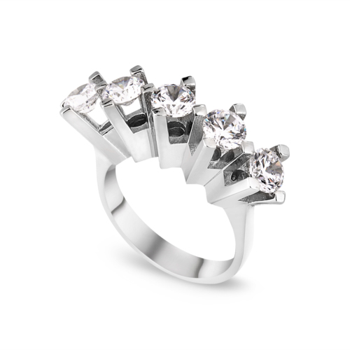Chavin 2,5 crt. Swarovski Beştaş, 5 Taş Gümüş Bayan Yüzük de56