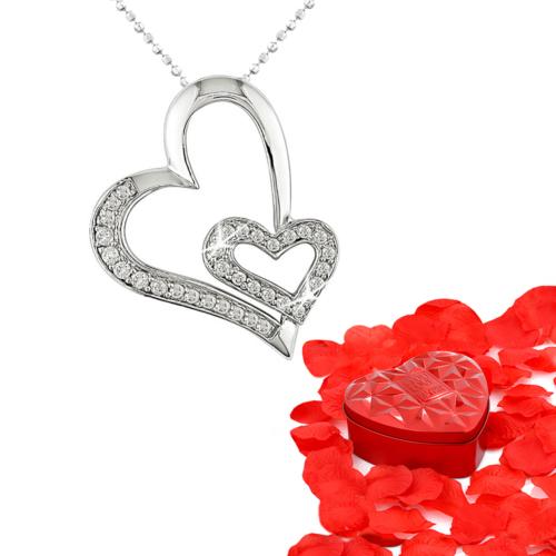 Chavin Kalpli,Taşlı Gümüş Kolye ve Gül Yapraklı Kalp Kutu cd11