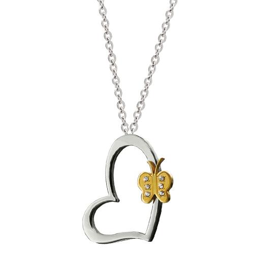 Chavin Kalp Üzerinde,Altın kap. Kelebek,Bayan Çelik Kolye n95