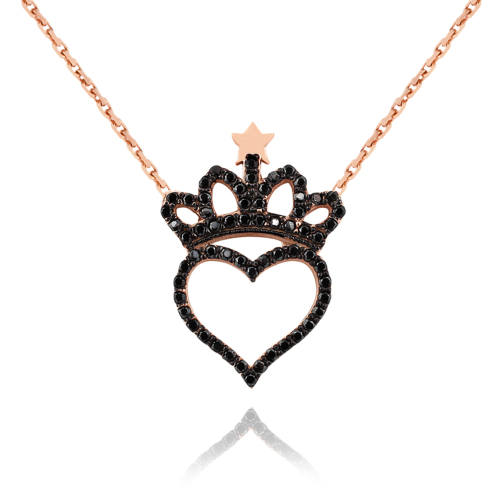 Chavin Kalp ve Kraliçe Tacı Taşlı Gümüş Bayan Kolye cs07