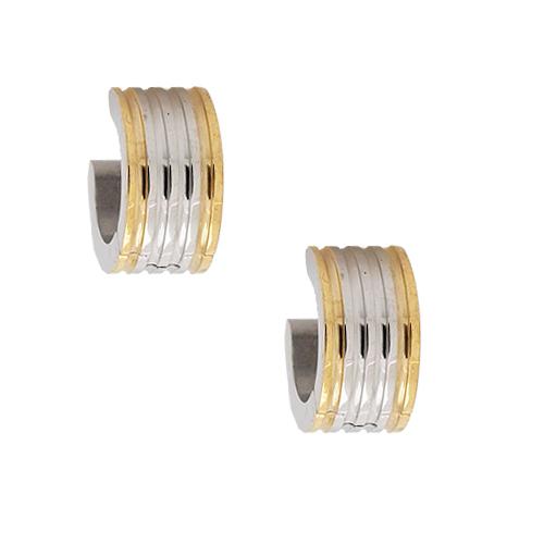 Chavin Unisex Altın Kaplama Çelik Halka Küpe ay17