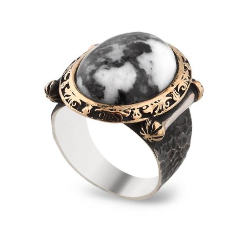 Chavin Zebra Desen Taşlı Gümüş Erkek Yüzük cr83