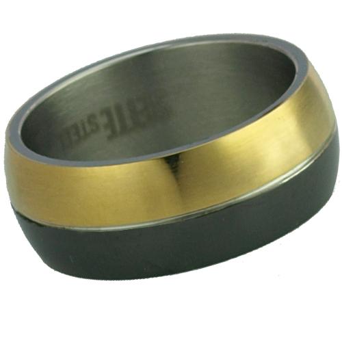 Sette Çift Renk ,Altın Kaplama Çelik Unisex Yüzük u76