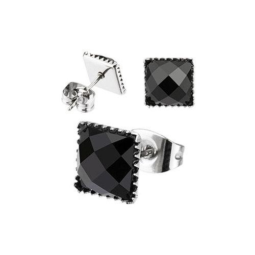 Chavin Unisex Kare Siyah Taşlı Çelik Küpe cm23-7