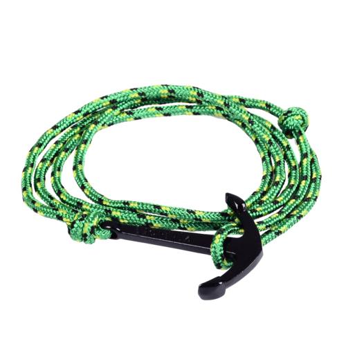 Chavin Yeşil İpli Siyah Çapa Erkek-Bayan Çelik Bileklik cz16