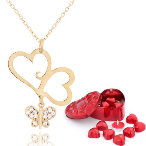 Chavin Aşık Kalpler, Bayan Kelebek Altın Kolye Çikolatalar de47