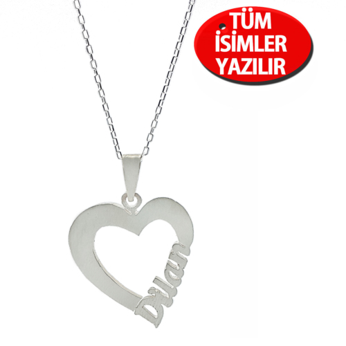 Chavin Kalp İçinde İsim Özel Gümüş Kolye cu25