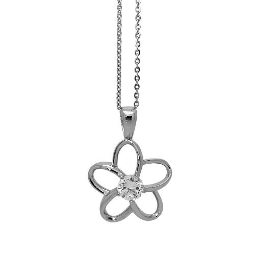 Chavin Zirkon Taşlı Çiçek Bayan Çelik Kolye az39