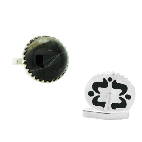 Chavin Siyah Kaplangöz Taşlı Gümüş Kol Düğmesi cm35