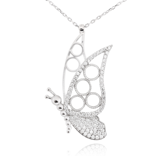 Chavin Taşlı Kelebek Gümüş Bayan Kolye cu59