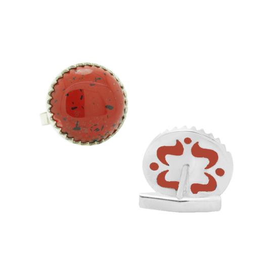 Chavin Kırmızı Jasper Taşlı Gümüş Kol Düğmesi cm37